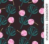 seamless retro 1940s pattern in ... | Shutterstock . vector #1066600409