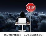 hacker working on laptop close... | Shutterstock . vector #1066605680