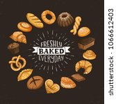 freshly baked everyday... | Shutterstock .eps vector #1066612403
