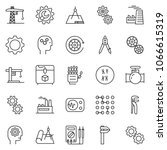 thin line icon set   gear head... | Shutterstock .eps vector #1066615319