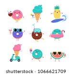 sweet summer   cute ice cream ... | Shutterstock .eps vector #1066621709