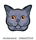 cute cat head pop art. isolated ... | Shutterstock . vector #1066625510