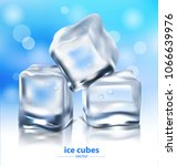 ice cubes on a blue background. ... | Shutterstock .eps vector #1066639976