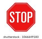 red stop sign on white... | Shutterstock .eps vector #1066649183