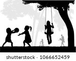 family silhouettes in nature. | Shutterstock .eps vector #1066652459
