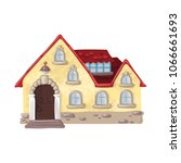 fairytale wooden house with... | Shutterstock .eps vector #1066661693
