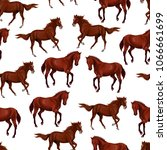 Stock vector seamless pattern with bay horses running horses and riders 1066661699