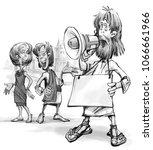 a man a street preacher  an... | Shutterstock . vector #1066661966