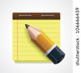 vector pencil and yellow... | Shutterstock .eps vector #106666439