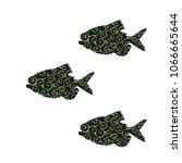 piranha fish spiral pattern...   Shutterstock .eps vector #1066665644