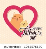 happy fathers day card with cats | Shutterstock .eps vector #1066676870