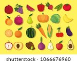 fresh vegetables organic and... | Shutterstock .eps vector #1066676960
