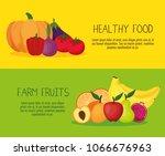 fresh vegetables and fruits... | Shutterstock .eps vector #1066676963