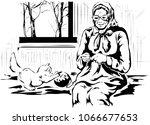 the grandmother knits. the... | Shutterstock .eps vector #1066677653
