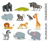 cute cartoon african animals... | Shutterstock .eps vector #1066682063