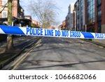 police tape across street crime ...   Shutterstock . vector #1066682066