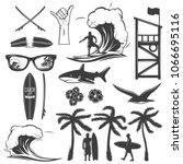 surfing black icon set with... | Shutterstock .eps vector #1066695116