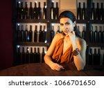 attractive slim brunette posing ...   Shutterstock . vector #1066701650