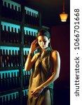attractive slim brunette posing ...   Shutterstock . vector #1066701668