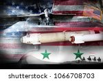 concept of conflict in syria.... | Shutterstock . vector #1066708703