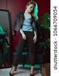 model in stylish clothes near...   Shutterstock . vector #1066709054