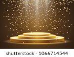 golden podium with a spotlight ... | Shutterstock .eps vector #1066714544