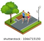 isometric young woman and man... | Shutterstock .eps vector #1066715150
