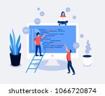 small people programmers coding ... | Shutterstock .eps vector #1066720874