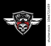 badass skull wear helmet with... | Shutterstock .eps vector #1066721459