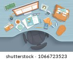 table with recess  armchair ... | Shutterstock .eps vector #1066723523