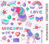 set with a unicorn and drawings ... | Shutterstock .eps vector #1066728533