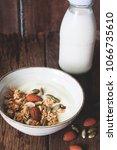 healthy meal  yogurt with... | Shutterstock . vector #1066735610