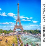 a beautiful view on the eiffel... | Shutterstock . vector #1066743308