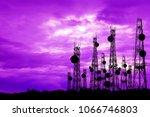 silhouette satellite dish... | Shutterstock . vector #1066746803