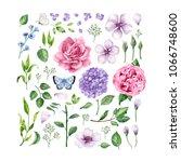 big set of flowers  roses ... | Shutterstock .eps vector #1066748600