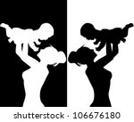 black and white silhouettes of... | Shutterstock .eps vector #106676180