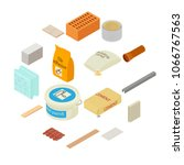 building materials icons set.... | Shutterstock .eps vector #1066767563
