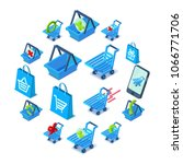 shopping cart icons set.... | Shutterstock .eps vector #1066771706