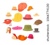 hat types icons set headdress.... | Shutterstock .eps vector #1066774130