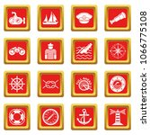 nautical icons set vector red... | Shutterstock .eps vector #1066775108