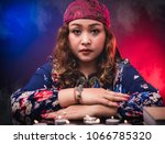 Small photo of Female woman seer teller fortune psychic fortuneteller predicting fate for sign