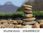 rock pile with pilot mountain... | Shutterstock . vector #1066808210