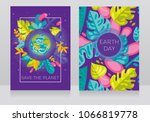 two banners with our planet in  ... | Shutterstock .eps vector #1066819778