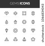 outline black icons set in thin ... | Shutterstock .eps vector #1066834043