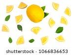 sliced lemon isolated on white... | Shutterstock . vector #1066836653