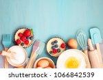 baking utensils and cooking... | Shutterstock . vector #1066842539