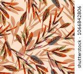 artistic leaves seamless... | Shutterstock . vector #1066842806