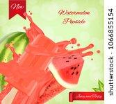 watermelon popsicle ads.... | Shutterstock .eps vector #1066855154