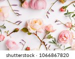 Stock photo festive flowers english rose composition on the white background overhead top view flat lay copy 1066867820