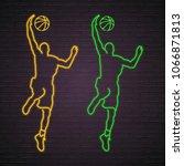 basketball player silhouette... | Shutterstock .eps vector #1066871813